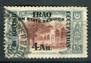 IRAQ; 1920 BRITISH OCC. SERVICE Optd. issue used 4a. value + good POSTMARK
