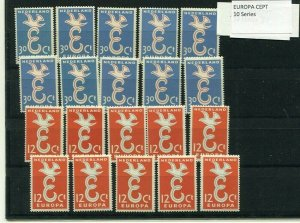 D059883 Europa CEPT 1958 E and Dove Wholesale 10 Series MNH Netherlands