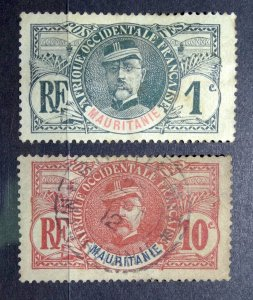 MAURITANIA 1906 SC#1 & SC#5 Pair - General Louis Faidherbe USED HINGED