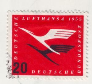 J971 jls stamp 1955 germany airmail lithansa emblem c64 used