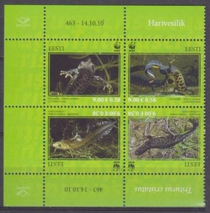 2010 Estonia 674-677VB Reptiles 5,00 €