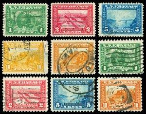 Scott 397-404 1913-1915 1c-10c Panama-Pacific Perf 12 & 10 Issues Used Cat $153