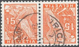 Switzerland 1934 15c Landscape Tête-Bêche Pair VFU