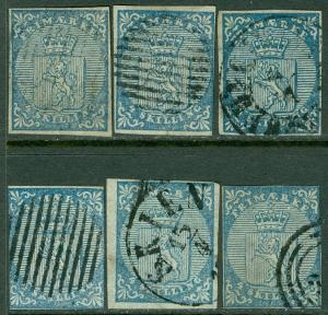 NORWAY : Nice group of 6 stamps of Scott #1.