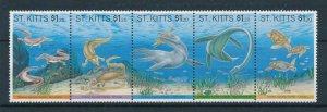 [106170] St. Kitts 1994 Prehistoric animals aquatic reptiles Strip of 5 MNH
