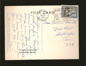Bermuda 121A on Postmarked 1953 Hamilton to USA Postcard Used