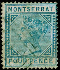 MONTSERRAT SG5, 4d blue, FINE USED. Cat £40. WMK CC.
