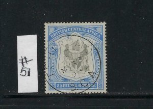 BRITISH CENTRAL AFRICA SCOTT #51  1897-1901 2/6 SHILLINGS- USED