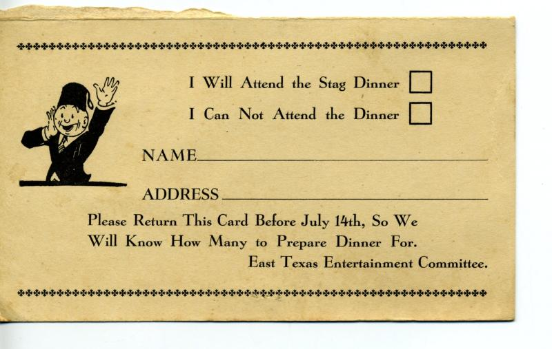 US #UY7r Reply Card Unused Martha Washington w/ Mustache Masons Dinner