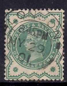 GB 1900 QV 1/2d Bluish green colour change LONDON Pmk SG 213 ( D45 )
