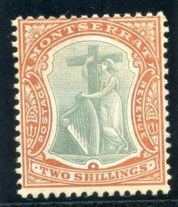 Montserrat 1908 KEVII 2s green & orange MLH. SG 31. Sc 29.