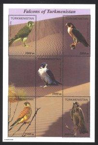 Turkmenistan Sc# 70 MNH Sheet/5 2000 Falcons