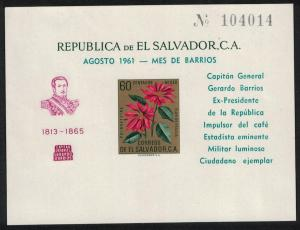 El Salvador Christmas Flowers MS Overprint 'General Barrios' MI#Block 11