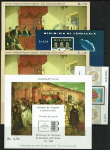 Venezuela 5 Souvenir Sheets, Never Hinged and Cancelled, minor ink rem - M477
