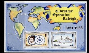 GIBRALTAR QEII SG MS603, 1988 operation raleigh mini sheet, NH MINT.