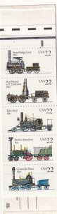 22c Steam Locomotives Booklet, MNH, Sc #2366/ BK 163 (8196)