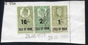 Isle of Man KGVI 10/- 2/- and 1/- Key Plate Type Revenues CDS on Piece