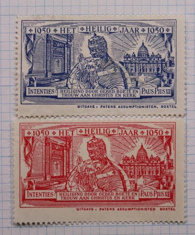 Pope Pius XII Catholic charity Poster stamps 1950 Dutch Holy Year Christian DL
