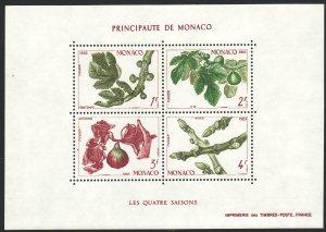 1983 Monaco Fig Branch four seasons Souvenir Sheet S/S MNH Sc# 1376 CV $8.00