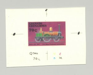 Grenada Grenadines #882 Locomotive, Trains, 1v. imperf chromalin proof