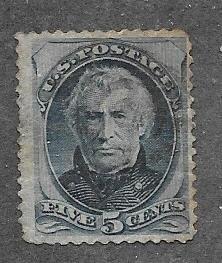 US # 185 5c Zachary Taylor, blue, (U) CV $16.00