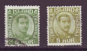 J13581 JLstamps 1920-2 iceland used #111-2 christian X