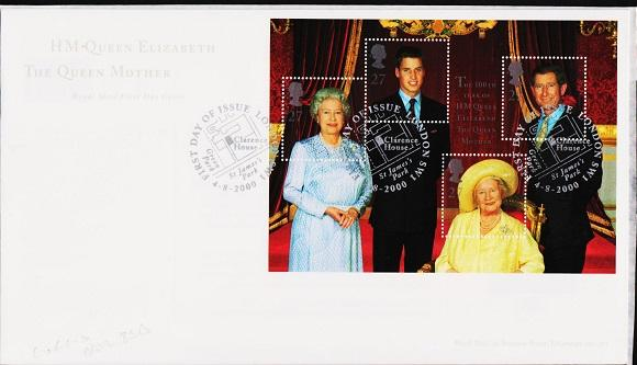 Great Britain. FDC.2000. 100th Birthday Miniature Sheet. Fine Used