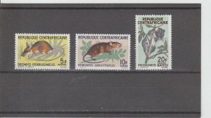 Central African Republic  Scott#  73-75  MNH  (1966 Rodents)