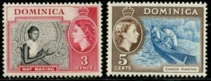 DOMINICA Sc#157 &158 SG#144 &147 1957 QEII 3c & 5c Added Values Mint LH