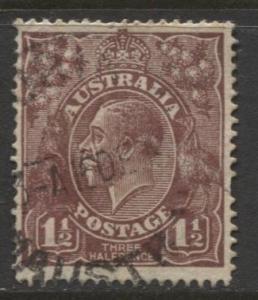 Australia - Scott 63a - KGV Head -19184 - FU - Wmk 11 - 1.1/2p Stamp1