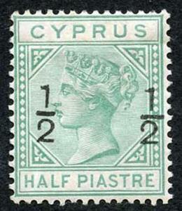 Cyprus SG23 1/2d on 1/2pi Emerald-green wmk Crown CC Mint (part gum)