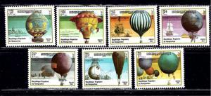 Cambodia 412-18 MNH 1983 Hot Air Balloons
