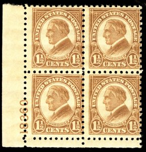 US US #582 PLATE BLOCK, SCV $125.00 F/VF mint never hinged, super fresh color...