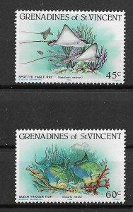 St. Vincent Grenadines MNH 399-400 Devil Rays & Marine Life