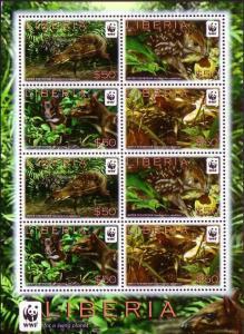Liberia WWF Water Chevrotain Sheetlet of 2 sets