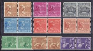 US Sc 840/851 MNH. 1939 Prexie Coil Pairs, 9 different F-VF