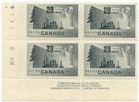 Canada USC #316 Mint 1952 20c Forestry Products - MS Pl. 1&2 F+-VF-NH