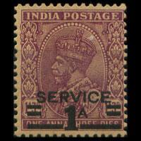 INDIA 1939 - Scott# O104 King Surch. Set of 1 NH gum toning