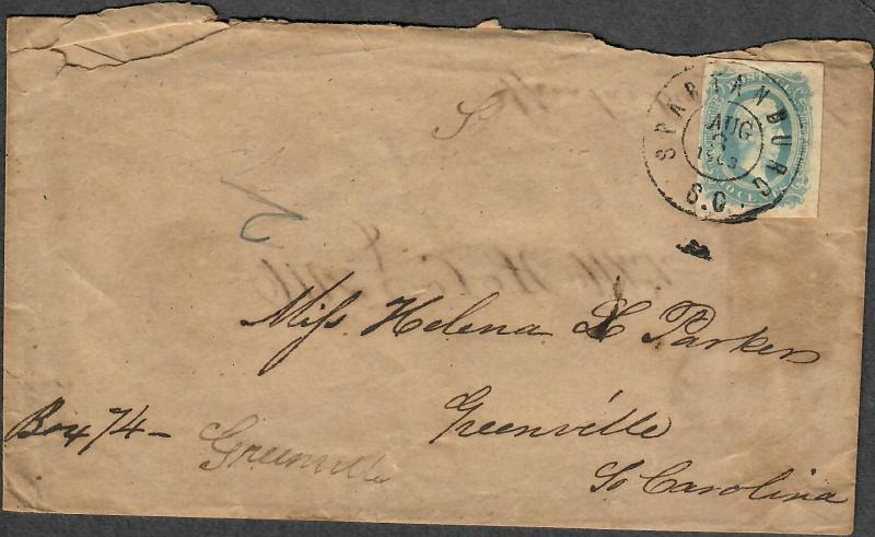 CSA Sc#11a Milky Blue Spartanburg SC Aug 3 1863 Transcribed Turned Cover