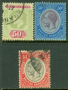 EDW1949SELL : BRITISH HONDURAS 1906-17 Scott #68, 81-82 Very Fine, Used Cat $165