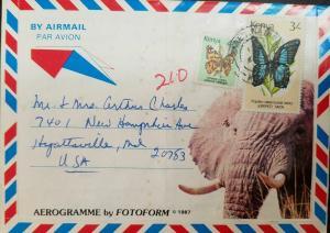 L) 1983 KENYA, BUTTERFLIES, NATURE, FAUNA, ELEPHANT, AIRMAIL , AEROGRAMME