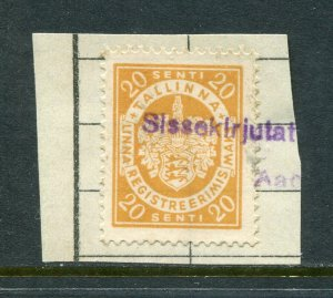 x368 - ESTONIA Tallin 1920s Municipal REVENUE Stamp. City Tax. Fiscal. Used