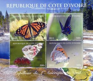 Ivory Coast 2011 Butterflies North America Shlt(4)Perf.MNH