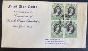 1953 British Honduras First Day Cover Queen Elizabeth 2 coronation Stamp Block Q