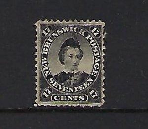 NEW BRUNSWICK SCOTT #11 1860-63 EDWARD VII 17 CENT (BLACK) - MINT NO GUM