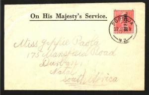 NEW ZEALAND 1934 GV 1d OFFICIAL on small cover ex Porirua..................91152