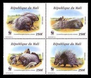 Mali WWF Crested Porcupine 4v in block 2*2 MI#1974-1977 SC#918 a-d