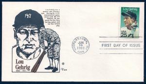 UNITED STATES FDC 25¢ Lou Gehrig 1989 Van