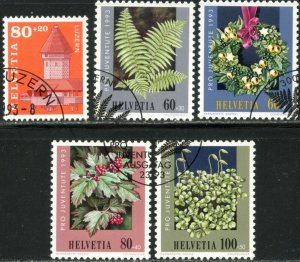 SWITZERLAND Sc#B590-B594 1993 Lucerne & Woodland Plants Complete Sets Used
