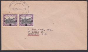 COOK IS 1944 cover to New Zealand - pair 3d overprints ex Rarotonga........87720